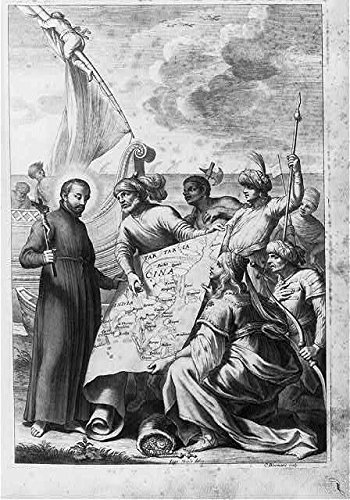 Priest holding crucifix standing beside boat, map of tartaria, cina, india, 1653