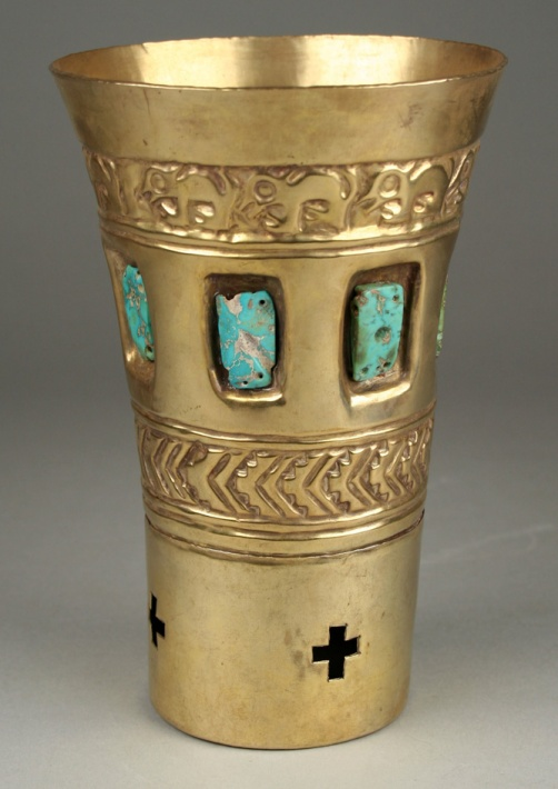 solid gold rattler cup with inlaid turquoise
