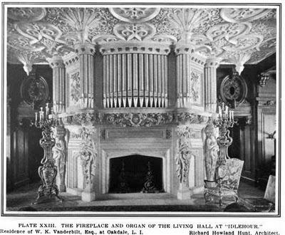 venderbilt idlerour pipe organ and fireplace